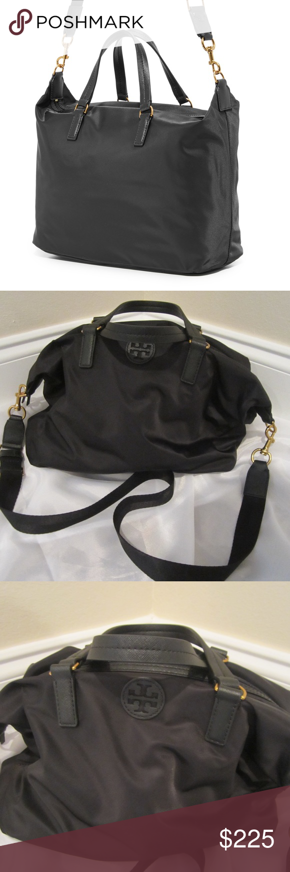 51fc3590a2 Tory Burch Scout Nylon Slouchy Satchel Black with gold trim Tory Burch  Scout Nylon Slouchy Satchel. Shows as brand new - inside hardware still  wrapped in ...