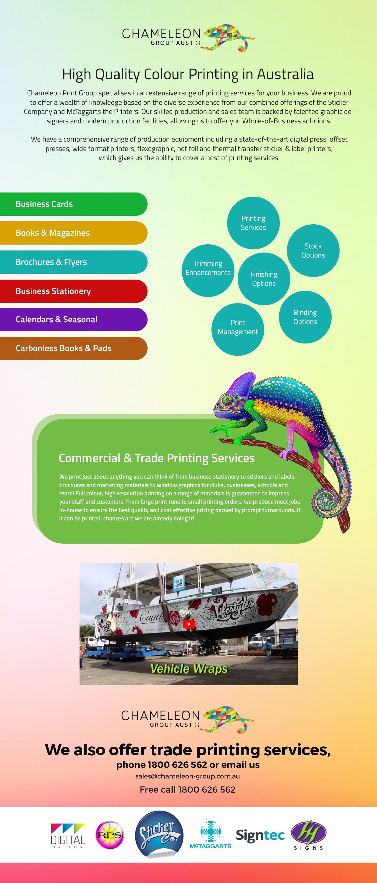 Printing services chameleon print group australia printing chameleon print group specialises in an extensive range of high quality colour printing in australia for reheart Images