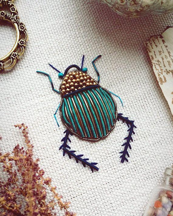 Onwijs Turqouise goudwerk Scarab Beetle met antieke gouden kralen (met LJ-94