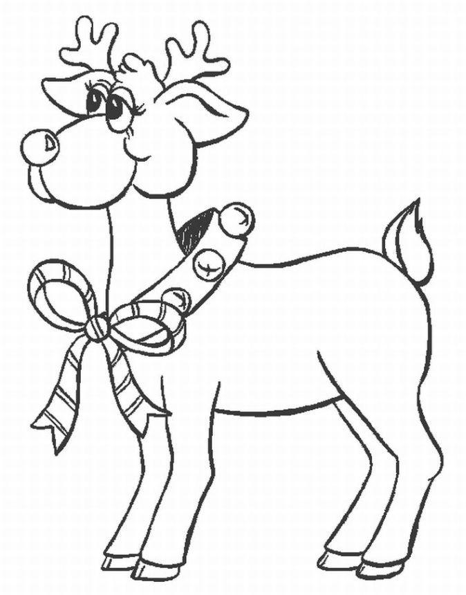 christmas santas reindeer coloring pages - Santa Reindeer Coloring Pages