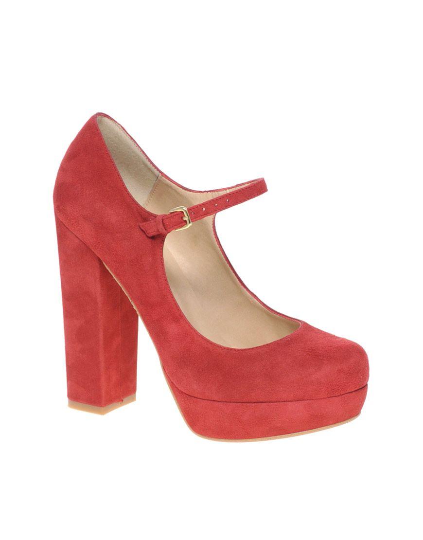 27177d6b Zapatos mujer Asos tacón ancho.   Red Shoes   Plataformas zapatos ...