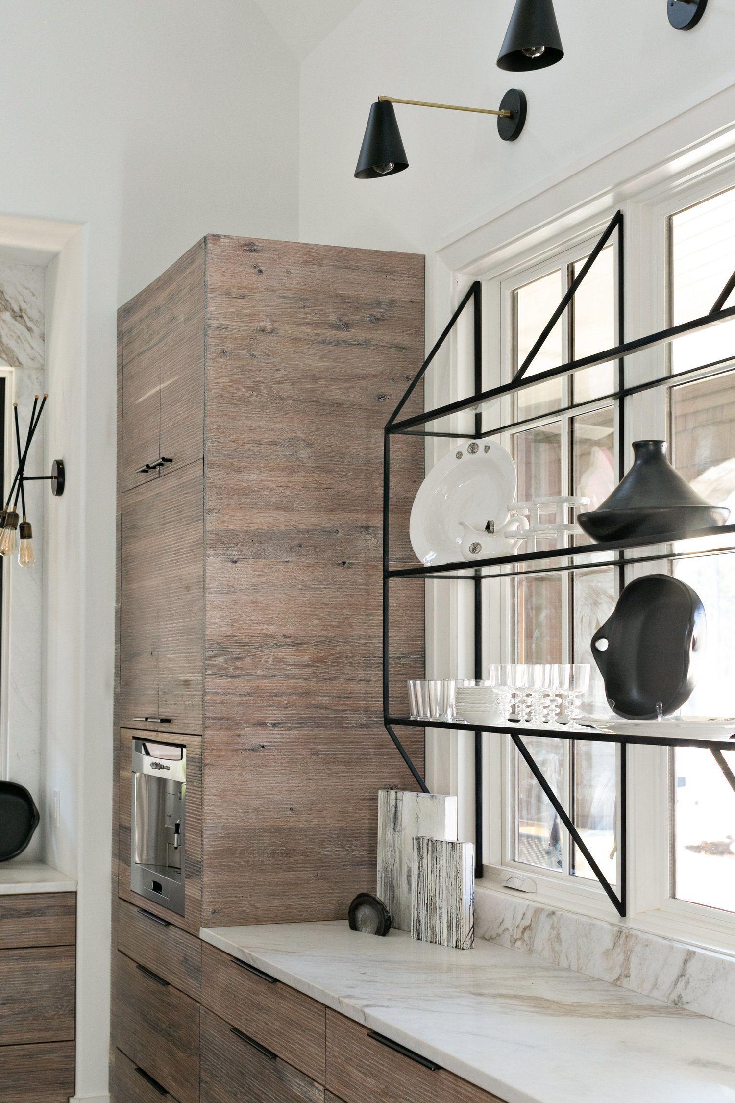 Pin By Mariel Metzenthin On Kitchen Glass Shelves Kitchen Metal Kitchen Cabinets Modern Kitchen