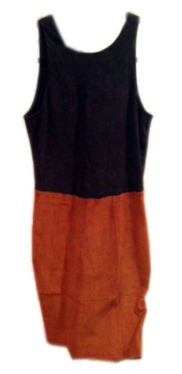 Brown and tan sleek suede, a-line dress by L'agence.