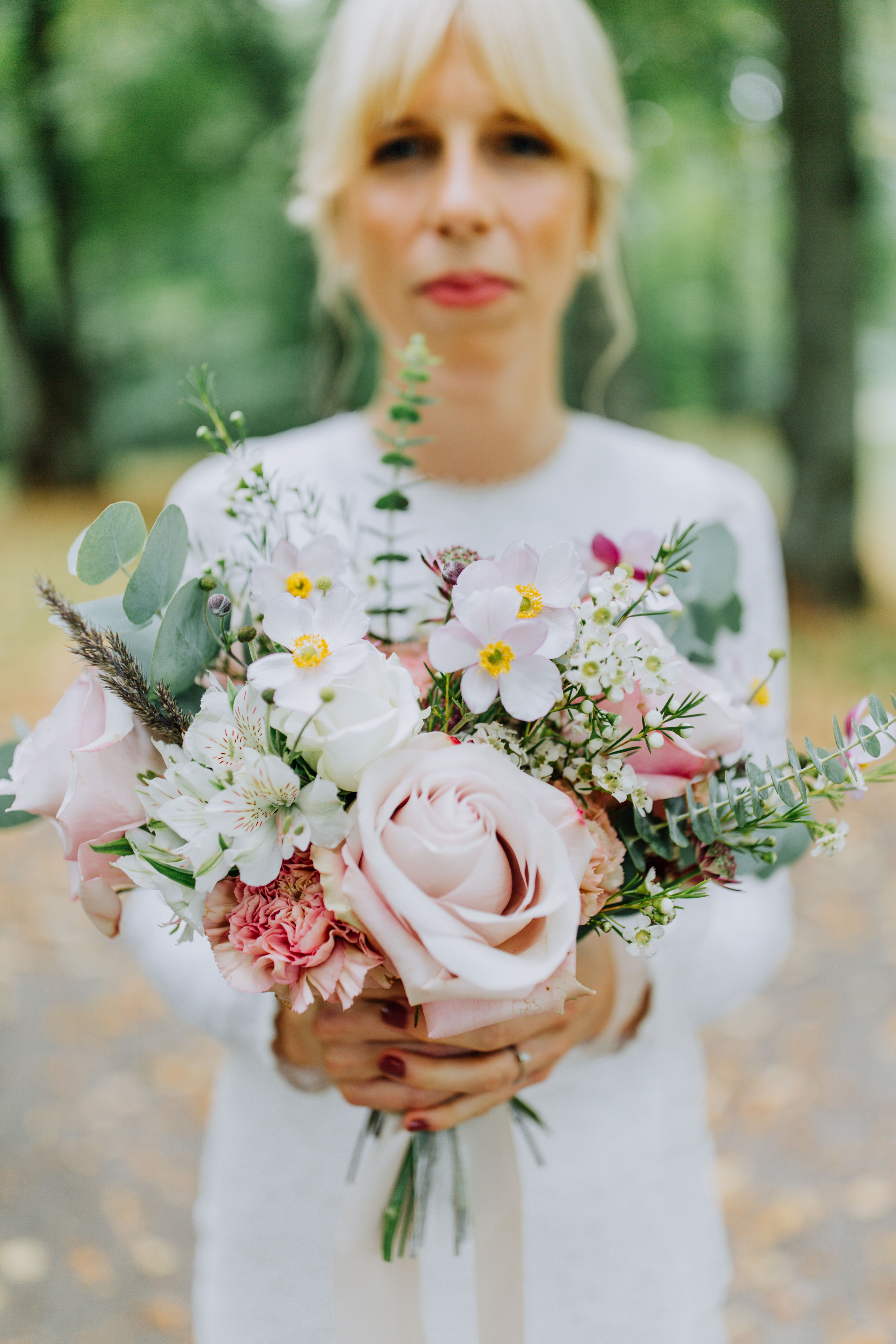 Bride With Romantic Summer Wedding Bouquet Blush Pink Roses