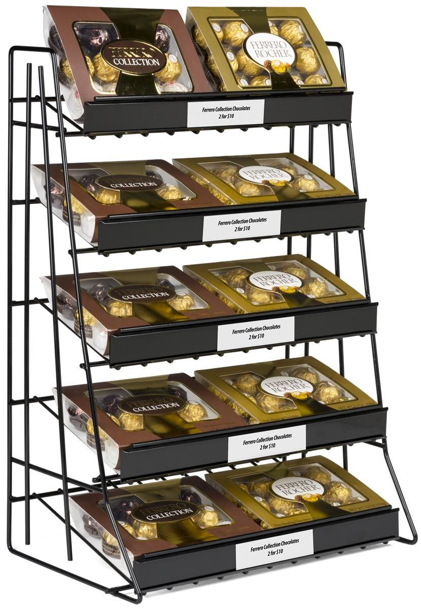 5 Tiered Wire Rack Display Tabletop 14 W Shelves With Sign