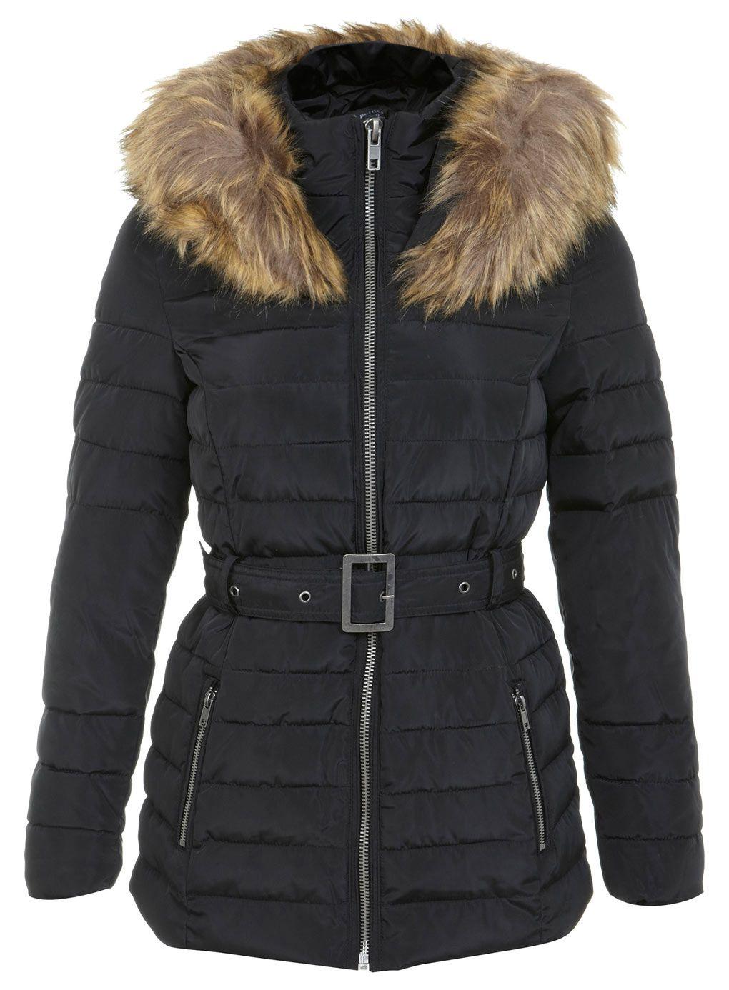 Petites Fur Hood Puffer Jacket Black puffa coat, Jackets