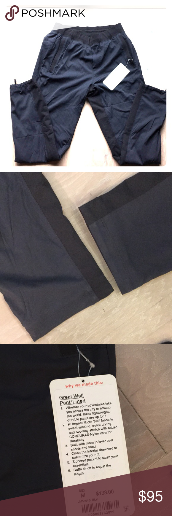 """a8580ce4b964bc Men's Lululemon lined """"Great Wall"""" Pant - size M Men's Lululemon lined """"Great  Wall"""" Pant - size Medium. Brand new with tags, never worn."""