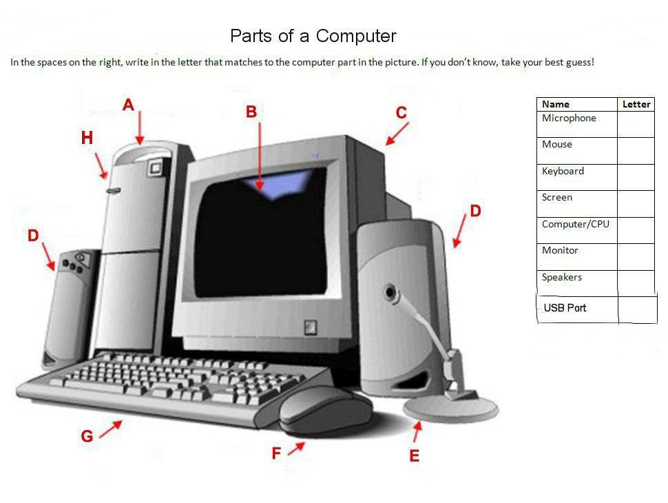 Parts Of A Computer Computer Lessons Teaching Computers Computer Basics