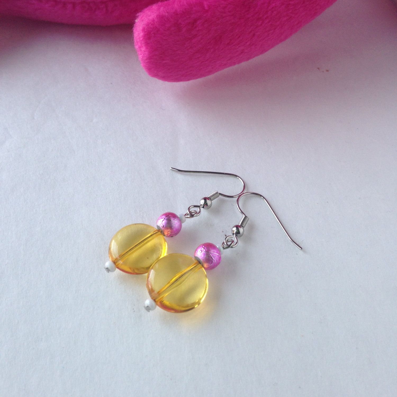 Gift Idea For Girls, Yellow Pink Lightweight Earrings, Handmade Beaded  Dangles, Little Girl