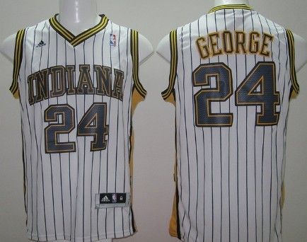 fd1dd87423c Indiana Pacers #24 Paul George Revolution 30 Swingman White With Pinstripe  Jersey