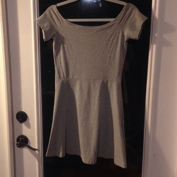 Grey H&M off shoulder skater dress Off shoulder, very stretchy and soft, skater style. Great for a edgy look! H&M Dresses Mini
