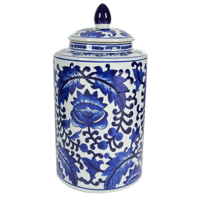 Beautiful blue and white glass ginger jars look great styled on a shelf or in clusters