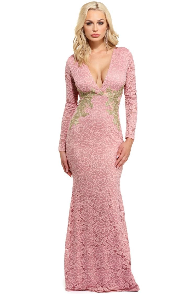 Kai Blush Touch Of Gold Formal Dress | WindsorCloud | Holiday party ...