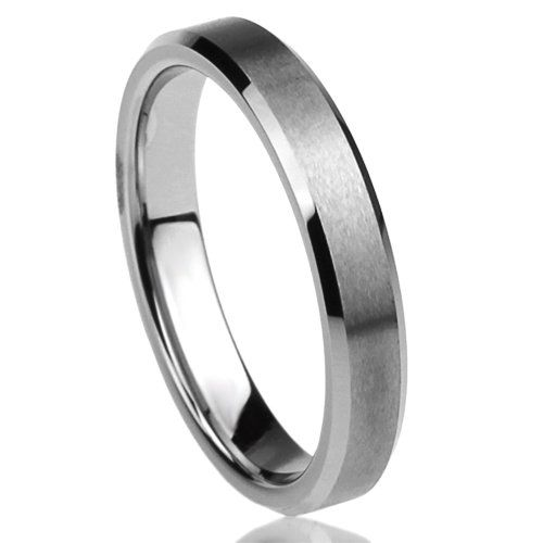 4MM Titanium Comfort Fit Wedding Band Ring Beveled Edges Brushed Classy Ring ( Size 5 to 12) - http://www.jewelryfashionlife.com/4mm-titanium-comfort-fit-wedding-band-ring-beveled-edges-brushed-classy-ring-size-5-to-12/