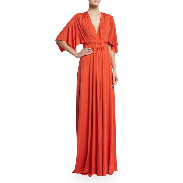 Rachel Pally Solid V-Neck Caftan Dress (£175) ❤ liked on Polyvore featuring dresses, caliente, red dress, kaftan dress, caftan dress, red a line dress and plunge dress