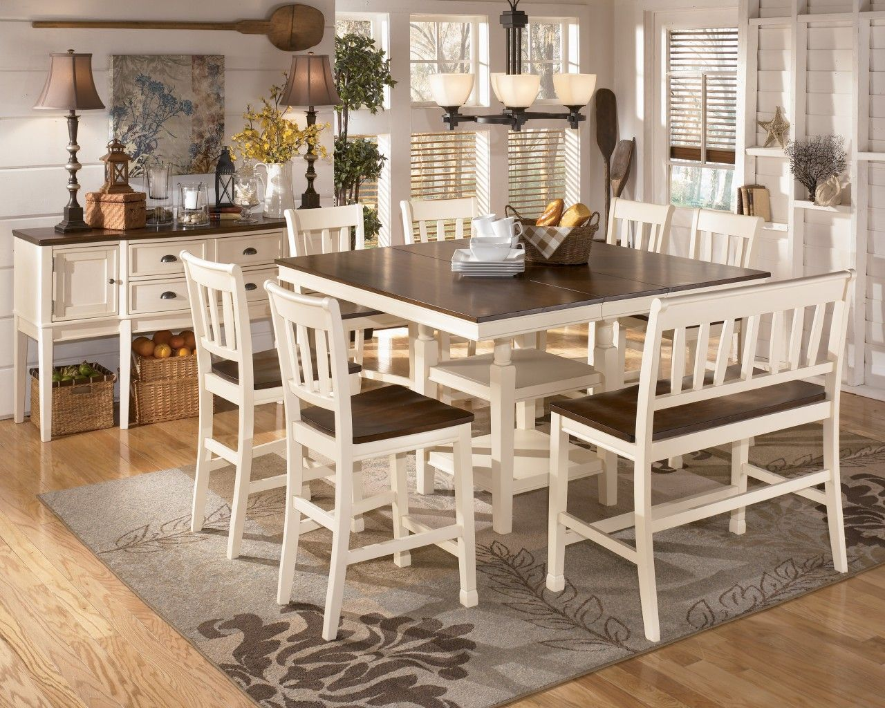 Amazing Whitesburg 8 Piece Square Counter Height Extension Table Set In Brown    White