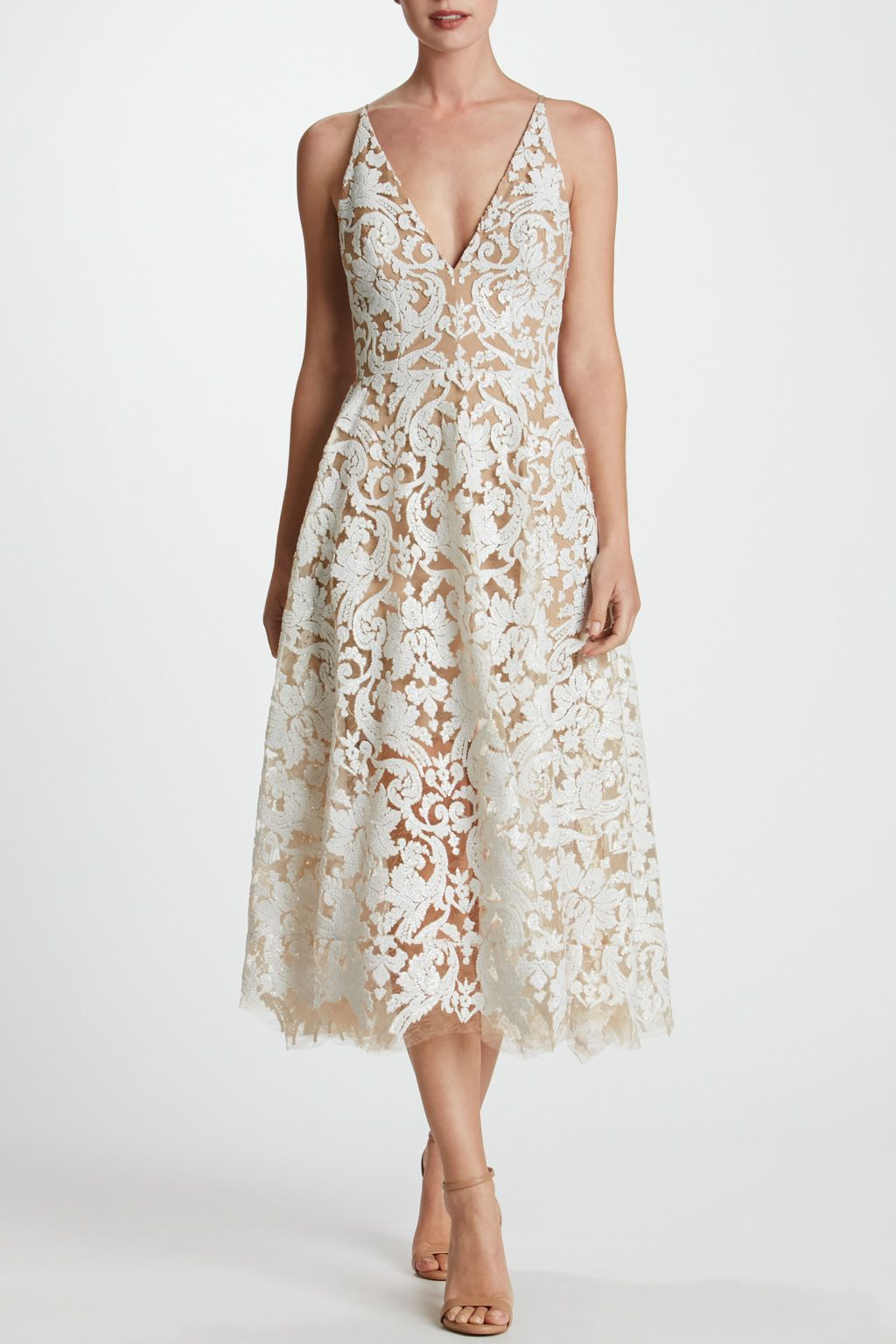 Thurley wedding dress  Blair Sequin Lace Fit and Flare Midi Dress  Wedding Rehearsal
