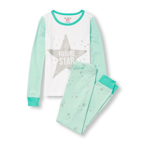 The Childrens Place Girls Big Long Sleeve Graphic Pajama Set