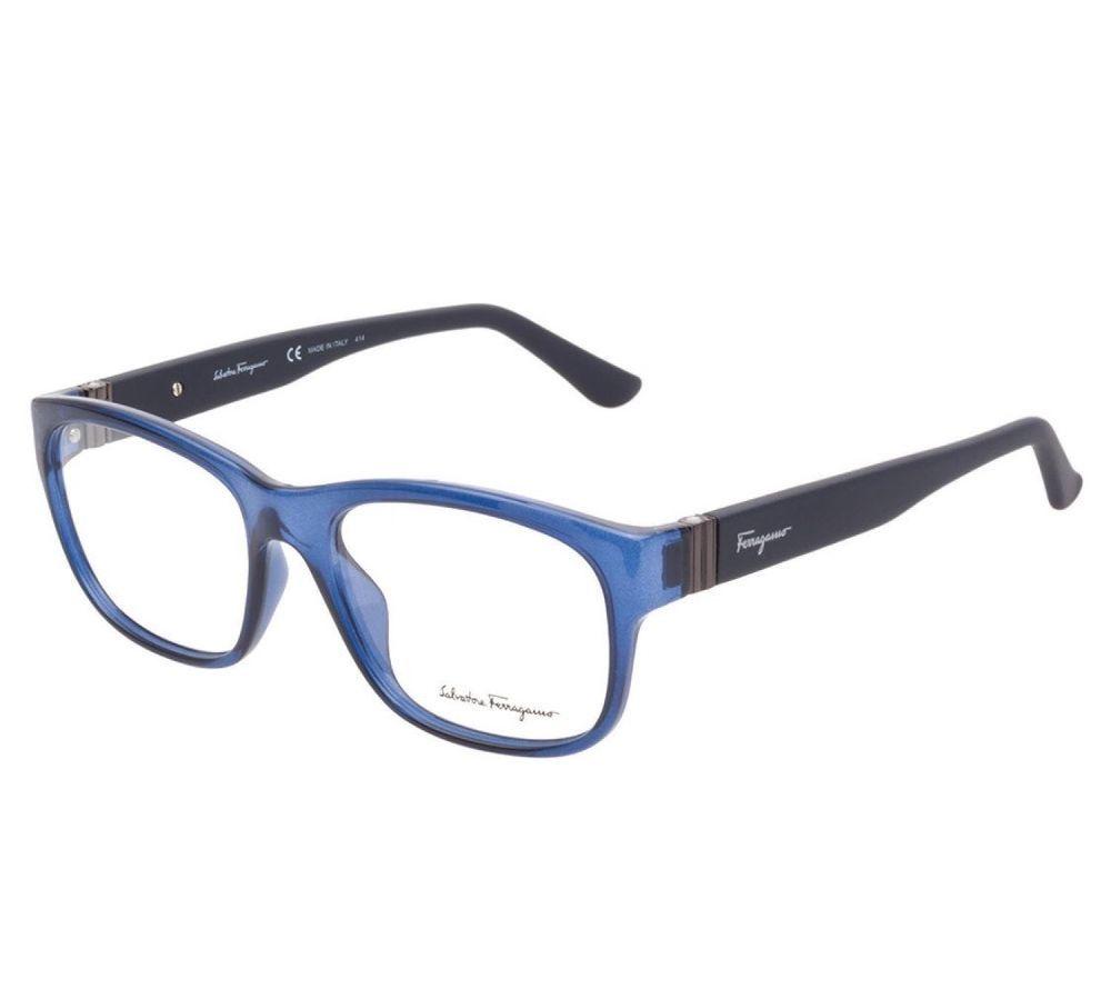 0a1a60e5b48f97 Salvatore Ferragamo Frames Men Eyeglasses Blue Black Plastic SF2664 414  54mm  SalvatoreFerragamo