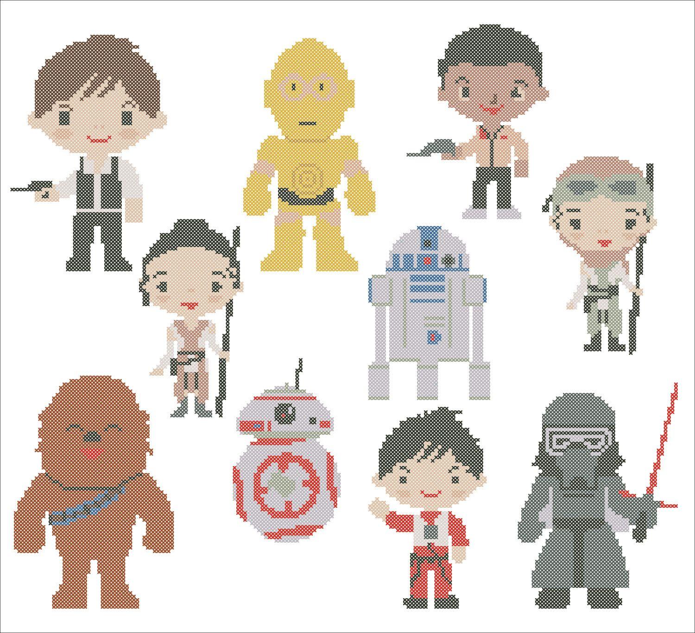 BOGO FREE! Star Wars Last Jedi Force Awakens characters Cross Stitch ...