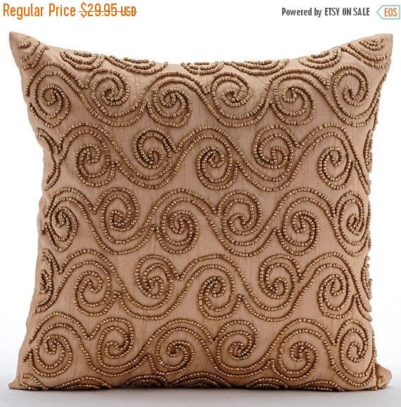 Decorative Scrolls Art Deco Throw Pillow Custom 16 X16 Art Silk Sofa Throw Gold Couch Cushion Cover Abstract Modern Style Gold Scrolls With Images Decorative Throw Pillow Covers Gold Pillow Covers