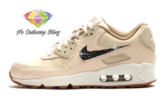 Pink Bling Nike Air Max 90 Women's Oatmeal/Sail/Black
