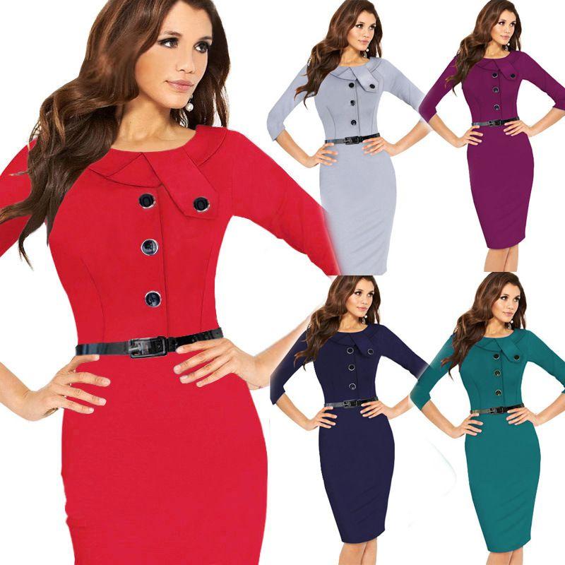 Vestidos Femininos On Work Dress Office Lady Three Quarter Sleeve Knee Length High