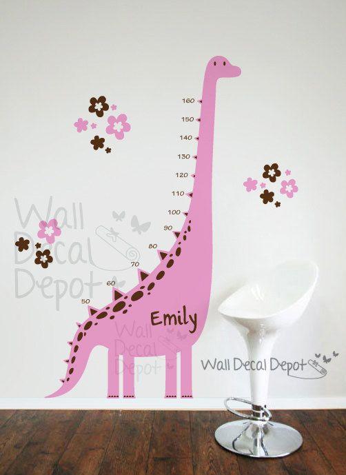 Dinosaur wall decal Growth Charts babyGirl by WallDecalDepot, $72.00