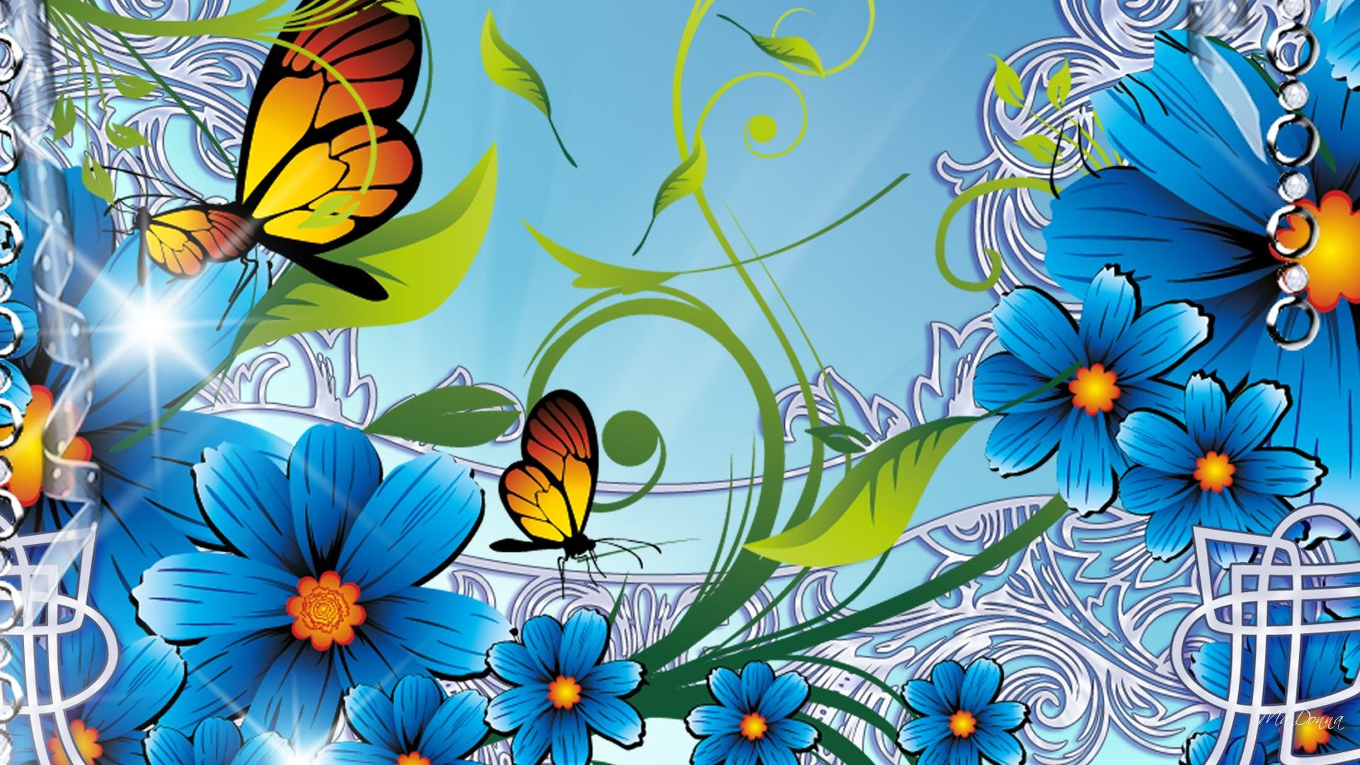 flowers Fractal art, Wallpaper