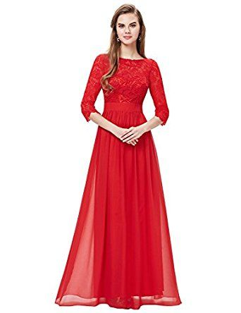 Ever Pretty Women's Lace Long Sleeve Floor Length Evening Dress 08412 at Amazon Women's Clothing store: