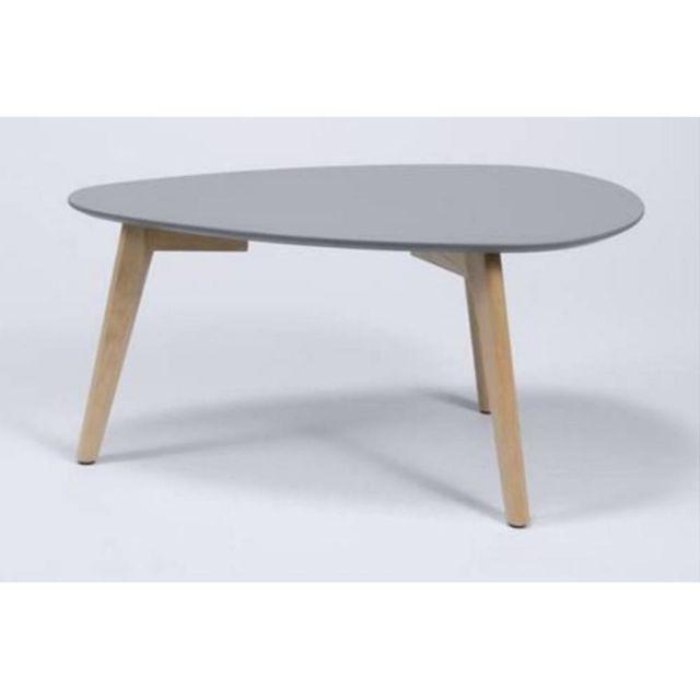 Inside 75 Table Basse Mignone Design Grise Avec Pietement En Chene