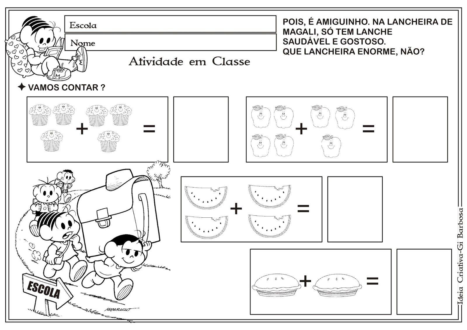 Atividade Matematica Volta As Aulas Turma Da Monica Com Imagens