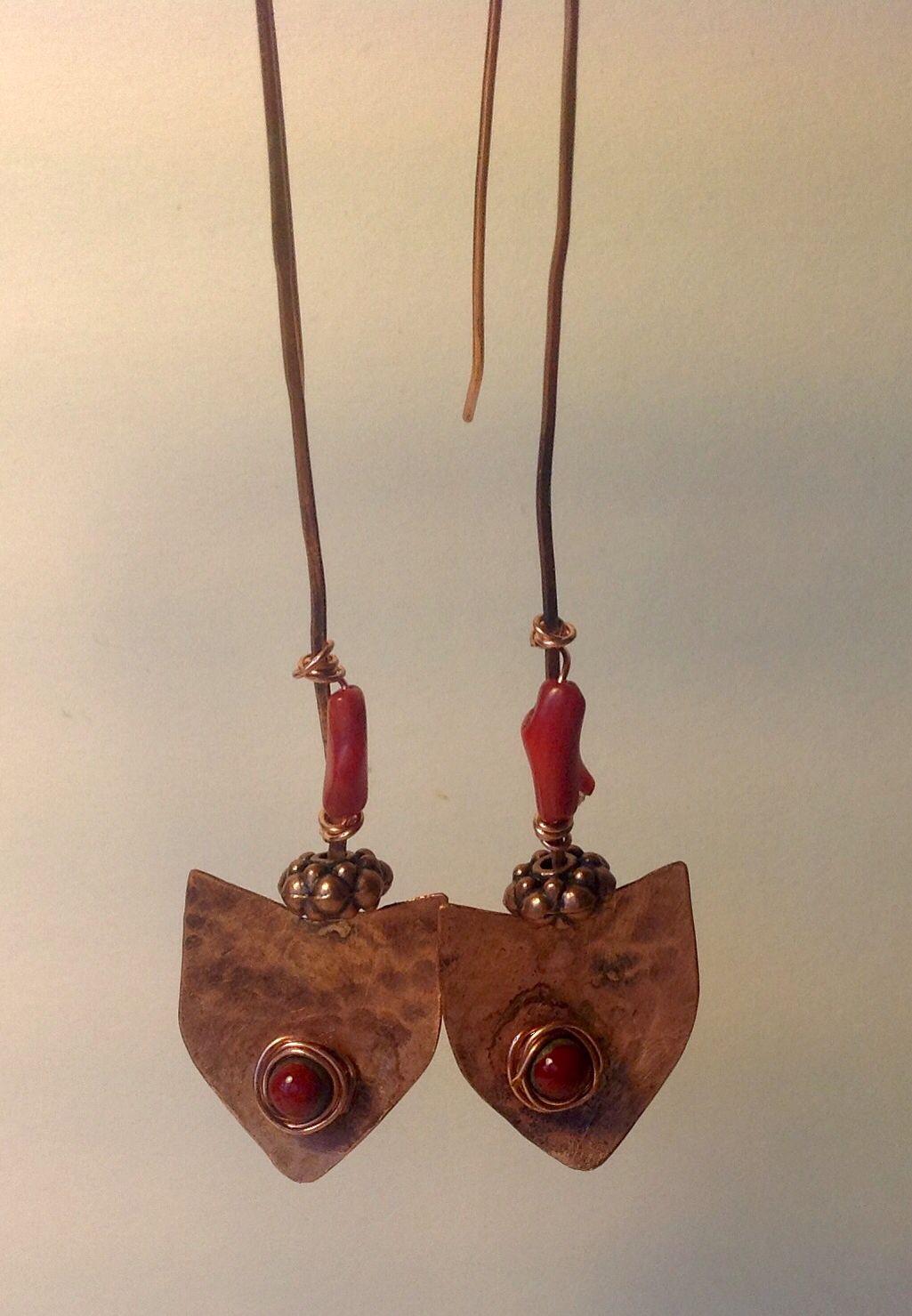 copper earings,  coral, wire, enamelling,   by Ollie K.
