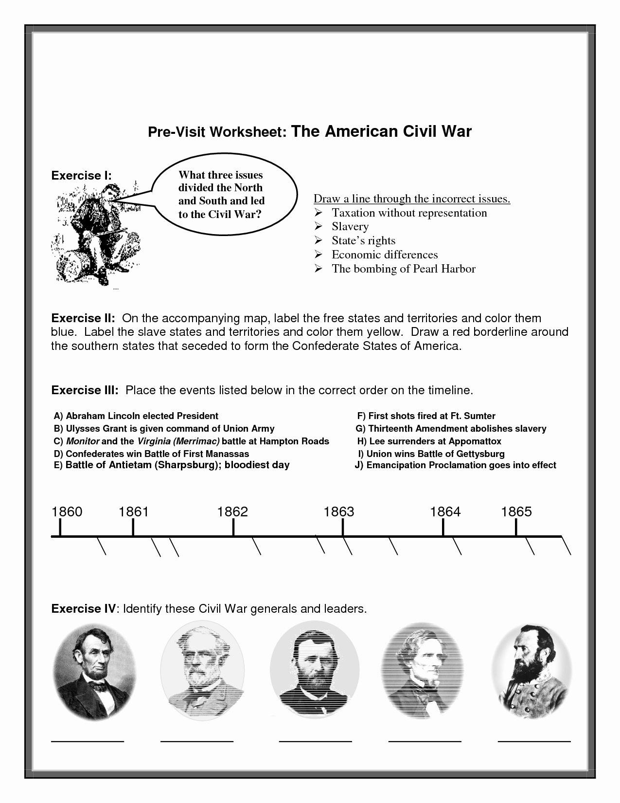 Civil War Map Worksheet Unique Civil War Printable Worksheets Map Worksheets Civil War Worksheets