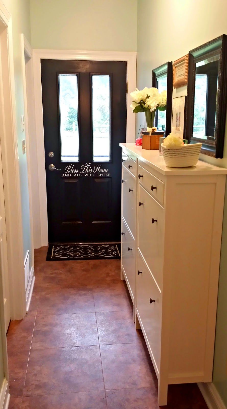 Ikea Hemnes Shoe Cabinet In A Hallway Before And After