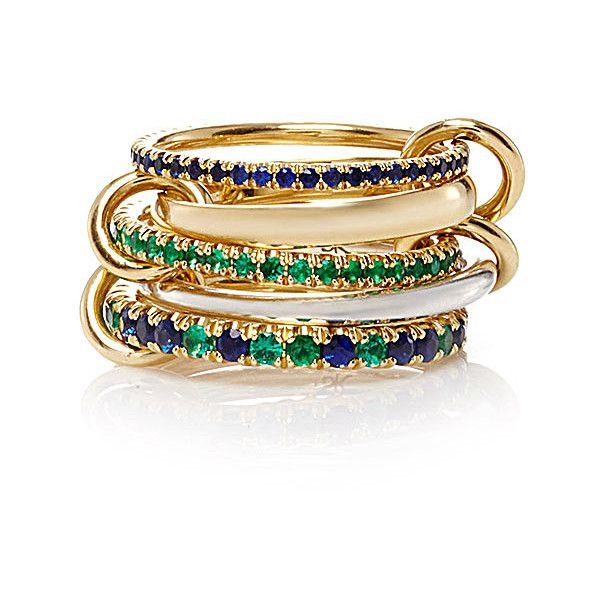 Spinelli Kilcollin 18K Yellow Gold Atlas Vert Five Linked Ring (£4,930) ❤ liked on Polyvore featuring jewelry, rings, green gold ring, gold pave ring, 18k yellow gold ring, yellow gold band ring and yellow gold rings