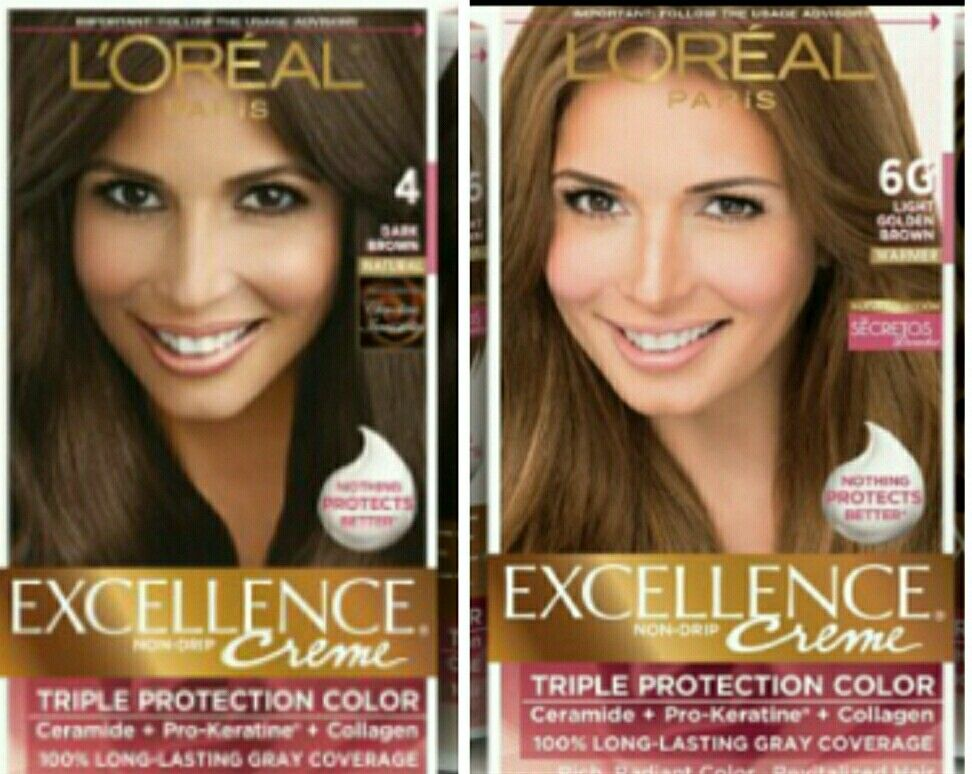 Giselle Blondete L Oreal Paris Excellence Creme 4 Dark Brown And 6g Light Golden Brown Loreal Paris Loreal Creme