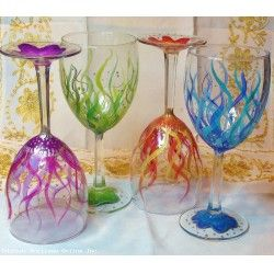 Hand-painted Wine Glasses (4) - Making Waves