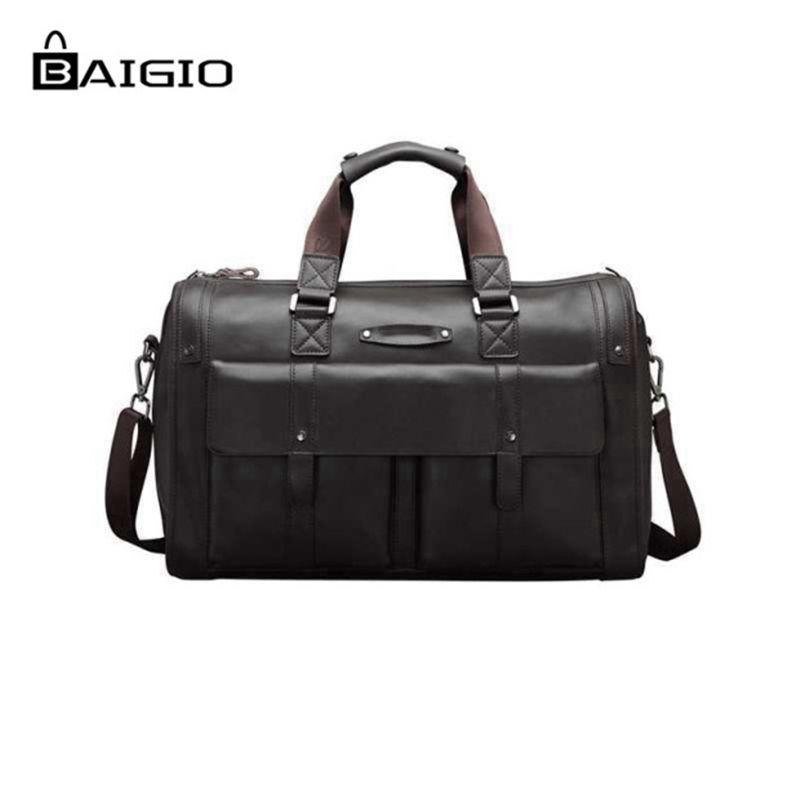 9239cfd03de0 Baigio Men Bag Split Leather Travel Bag Retro Brown Overnight Duffle Bags  Best Designer Travel Hand
