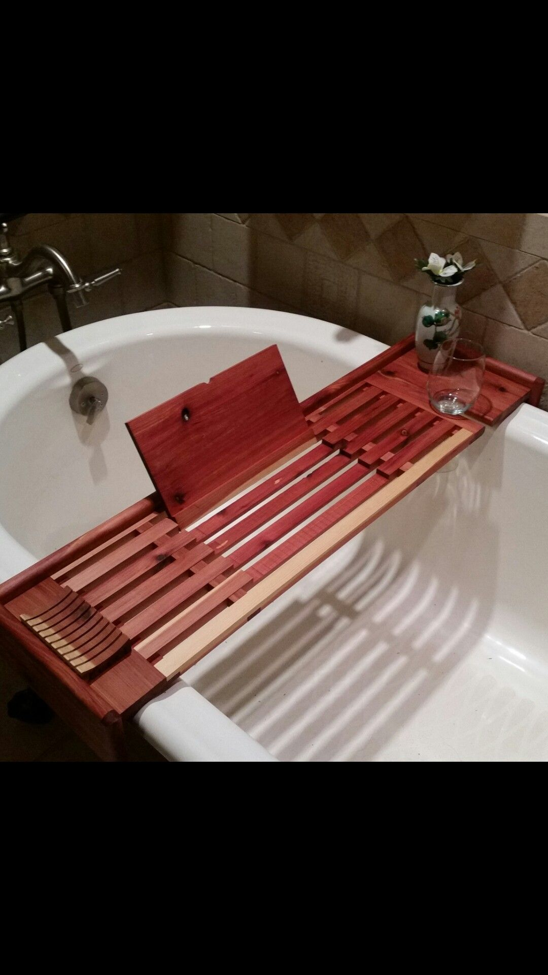 Bath Table I Built From Cedar It Spans Three Feet And Features A Fold Down Book Rest Wine Glass Holder And Cove Molde Wine Glass Holder Bath Table Book Rest
