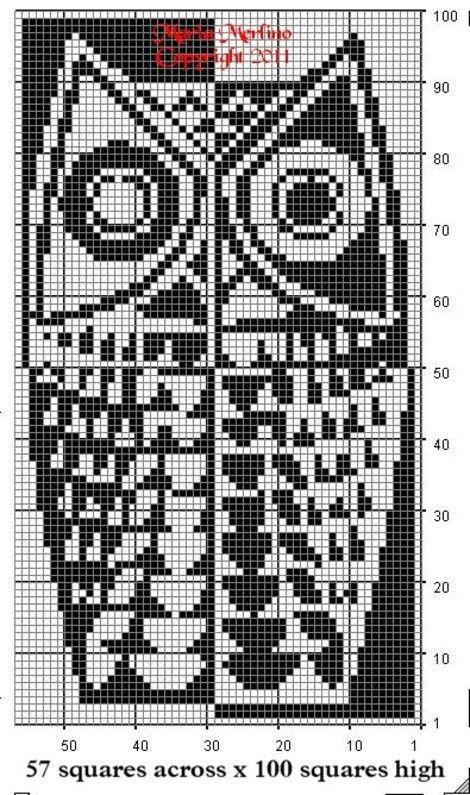 Modern Owl Curtain Wall Panel Chart In Filet Crochet Stitch Free