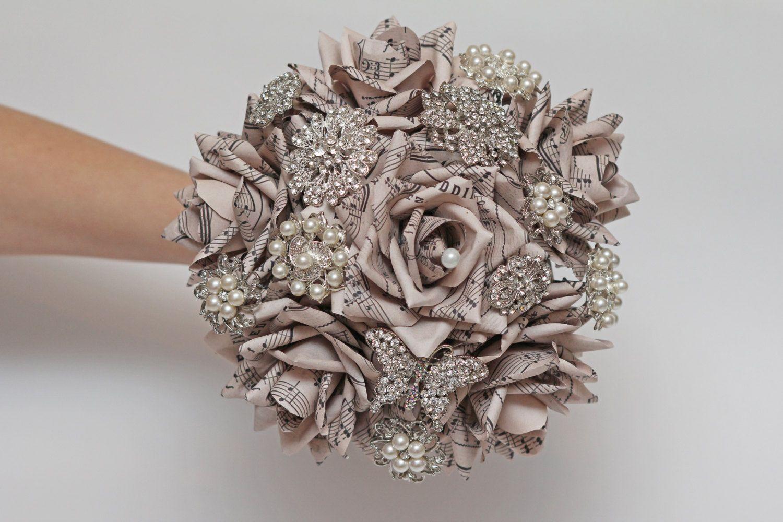 Sheet Music Brooch Bouquet Paper Flower Brooch Bouquet Wedding