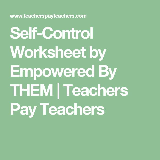 Self Control Worksheet Meta Moment Pinterest Teacher Pay
