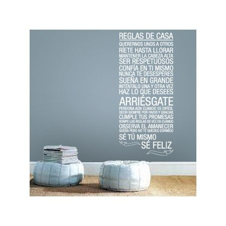 Vinilos decorativos de texto muy especial con las reglas de casa ...