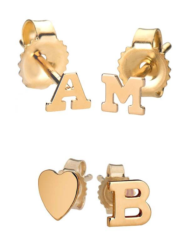 mi letter gold stud post handmade wr studs earrings rose alphabet initial