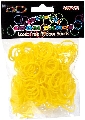 Colorful Loom Bands 300 YELLOW Rubber Bands with 'S' Clips