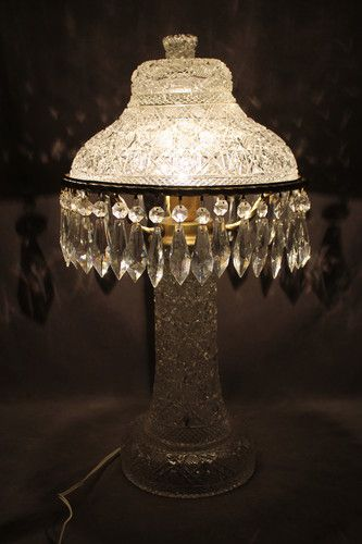 24in Tall X 12in Diameter Of The Shade 1950s Cut Crystal Table Lamp