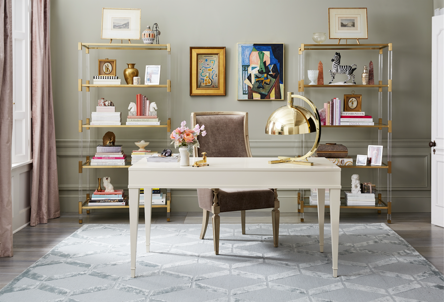 entire office decked. A Sophisticated Home Office Decked Out In Neutral Hues And Luxe Fabrics Finishes. Entire E