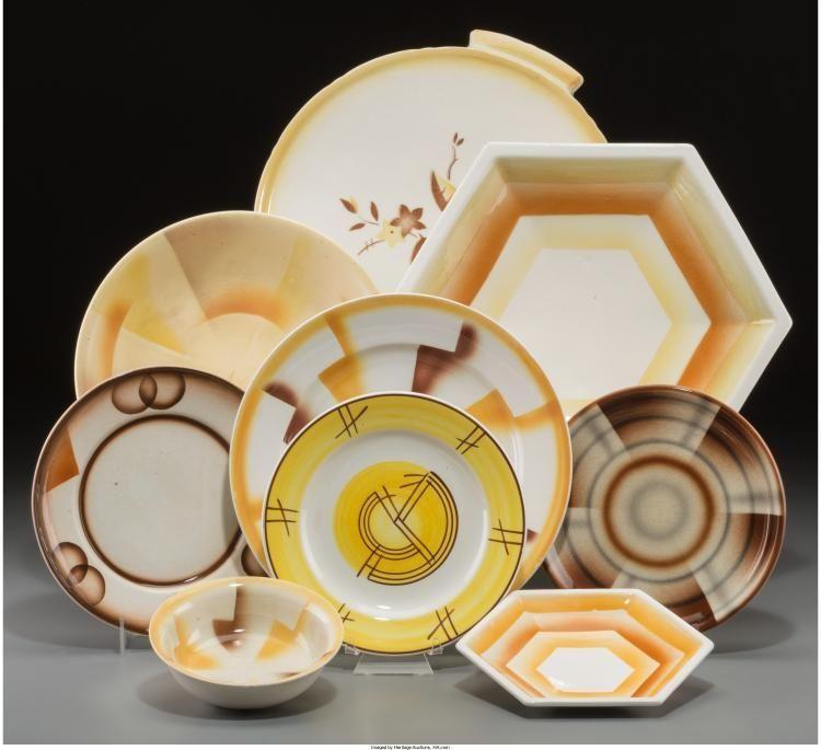 Fifteen-Pieces of Spritzdekor Art Deco and Bauhaus Ceramic Table It... Lot & Fifteen-Pieces of Spritzdekor Art Deco and Bauhaus Ceramic Table It ...