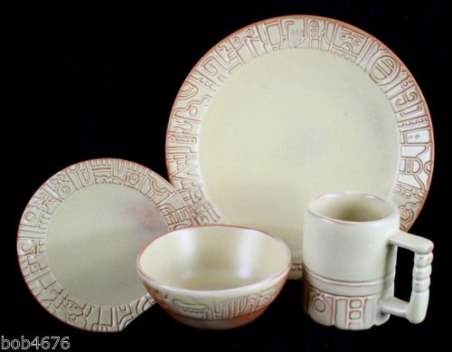 Good illustration of Desert Gold glaze on Mayan-Aztec dinnerware. Set includes the 7 & Good illustration of Desert Gold glaze on Mayan-Aztec dinnerware ...